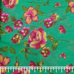 Tecido Chita Estampado Verde  Floral