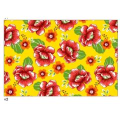 Tecido Chita Amarelo Floral Vemelho e Laranja