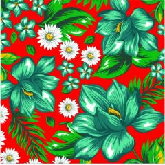 Tecido  Chita Vermelho Floral Verde