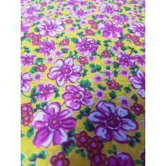 Tecido Chita Amarelo com Flores Lilas