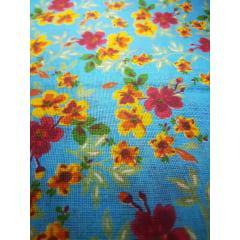 Tecido Chita Azul com Flores Vermelhas e Amarelas