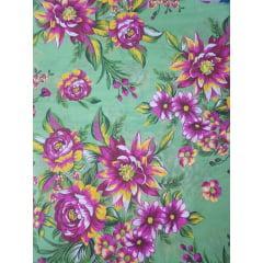 Tecido Chita Verde Floral Amarelo e Rosa