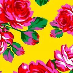 Tecido Chita Floral Rosa E Amarelo