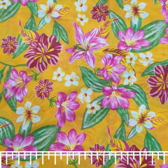 Tecido Chita Laranja Floral