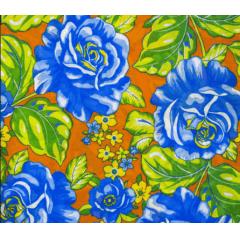 Tecido Chita Laranja Floral Azul