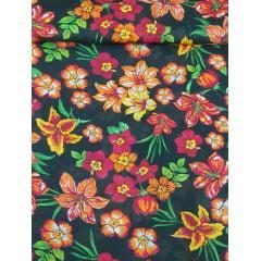 Tecido  Chita Preto  Floral  Vermelho