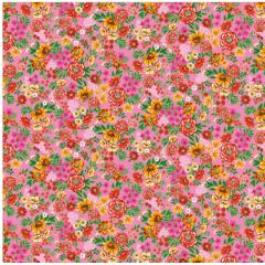 Tecido  Chita Rosa Flores Coloridas