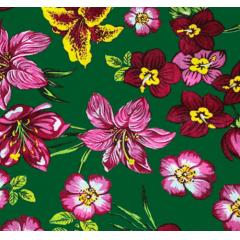Tecido  Chita Verde Floral