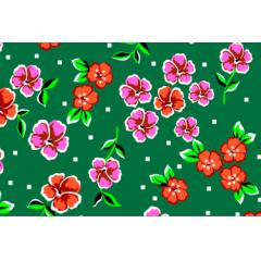 Tecido Chita Verde Floral Rosa com Laranja