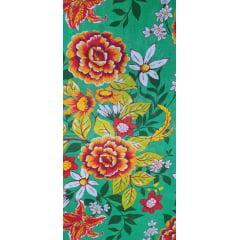 Tecido Chita Verde Flores