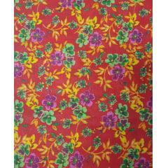 Tecido Chita Vermelho com Flores Verdes e Lilas