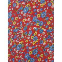 Tecido Chita Vermelho Floral Azul e Amarelo