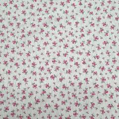 Tecido Cotton Cinza Floral Rosa