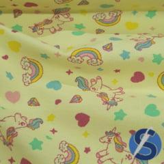 Tecido Flanela Sarja Estampada Amarelo Bebê Suzy