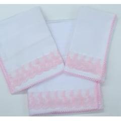 Kit Meu Bebê Branco Com Rosa Florzinha