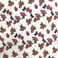 Tecido Lycra Confort New Branco Flores e Borboletas