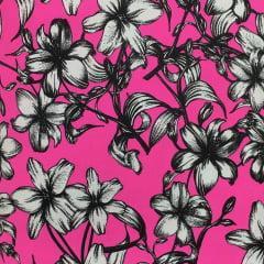 Tecido Lycra Moda Praia Beach Pink Floral