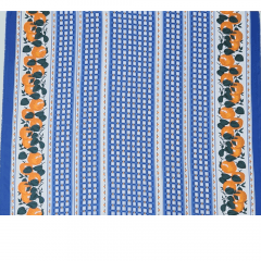 Tecido Oxford Xadrez Azul com Laranjas