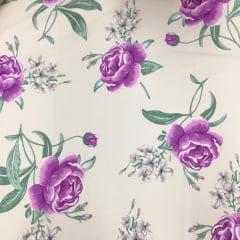 Tecido Percal Bege Rosas Lilás