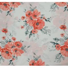 Tecido Percal Branco Floral Salmão