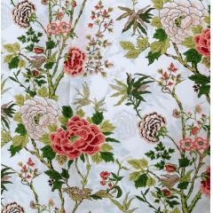 Tecido Percal Branco Floral