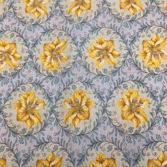 Tecido Percal Textura Floral Lírio Amarelo