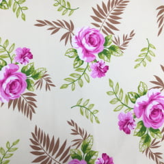 Tecido Percal Verde Floral Pink