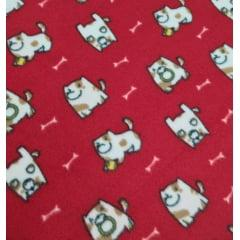 Tecido Soft Vermelho Cachorro