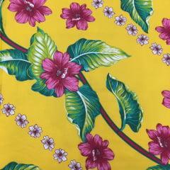 Tecido Chita Amarelo  Flores  Pink