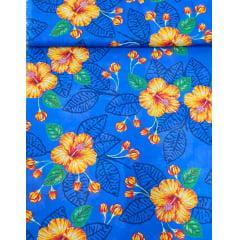 Tecido Chita Azul Floral Laranja