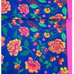 tecido Chita Azul Floral  Rosa