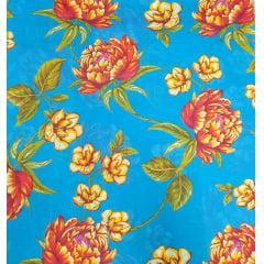 Tecido Chita Azul Flores Vermelha