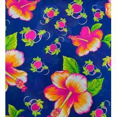 Tecido Chita Azul Marinho  Flores Pink com Amarelo