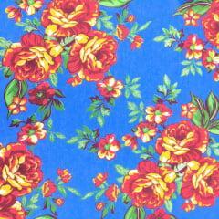 Tecido Chita Azul Oceano Flores e Ramos