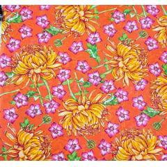 tecido Chita Laranja Flores Amarela