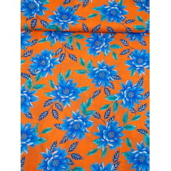 tecido Chita Laranja Flores Azul