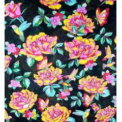 tecido Chita Preto Flores Coloridas