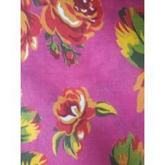Tecido Chita Rosa Pink Flores
