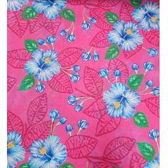 Tecido Chita Rosa Pink Flores Azul
