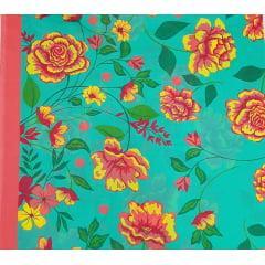 tecido Chita Verde Floral  Vermelho com Laranja