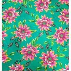 tecido Chita Verde Flores Rosa