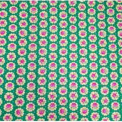 tecido Chita Verde Poá Florzinhas Rosa