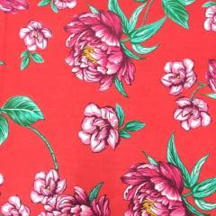 Tecido Chita Vermelho Flores Rosa