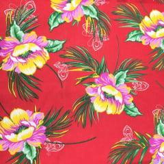 Tecido Chita Vermelho Floral