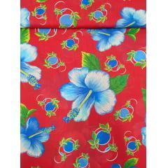 Tecido Chita Vermelho Flores Azul