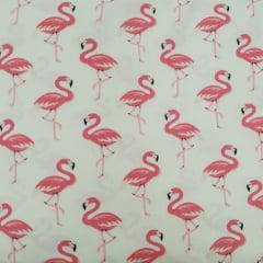 Tecido Tricoline Bege Flamingo Rosa