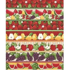 Tecido Tricoline Barrado Frutas  Mix