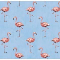Tecido Tricoline Flamingo Azul