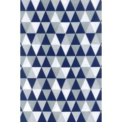 Tecido Tricoline Triângulos Azul Marinho com Cinza