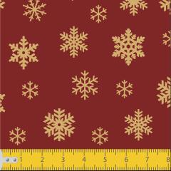 Tecido Tricoline Vermelho Flocos de Neve Natal